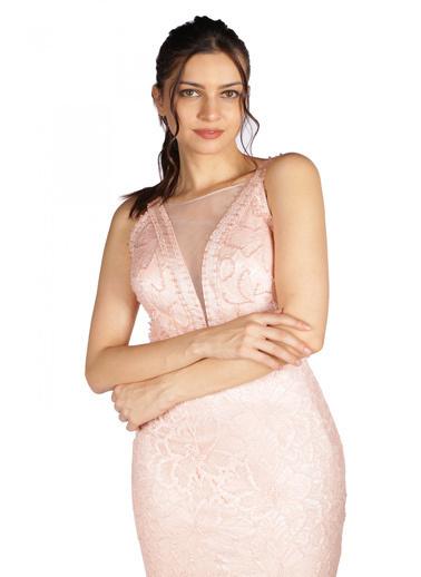 Pierre Cardin Uzun Abiye Elbise Pudra